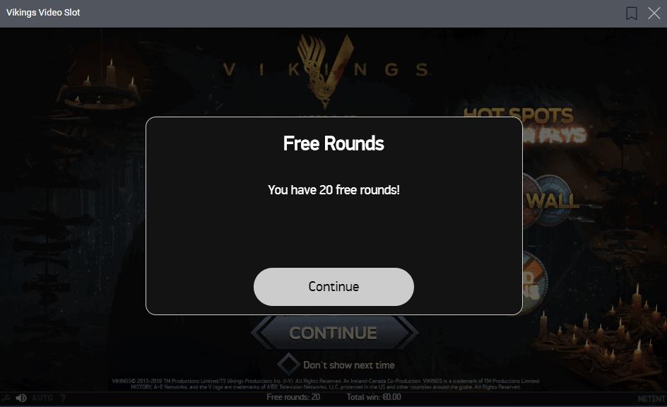 Vikings 20 Free Rounds