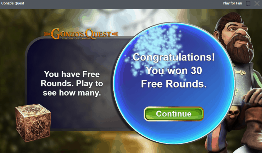 You won Free Spins on Gonzos Quest