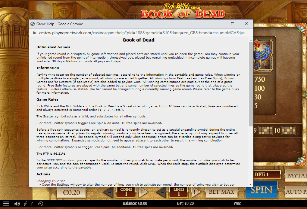 Book of the Dead slot - game rules
