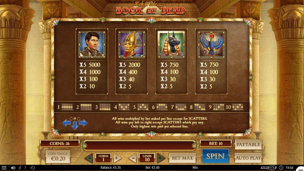 Book of the dead slot machine wins pay table