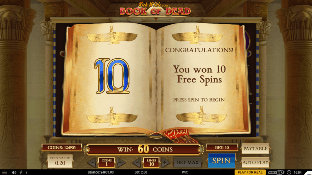 Book of hte Dead Free Spins