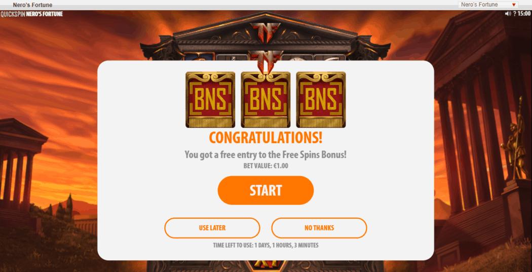 Free Spins Bonus Game Feature Trigger - Neros Fortune