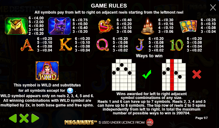 Madame Destiny Game Payout Symbols