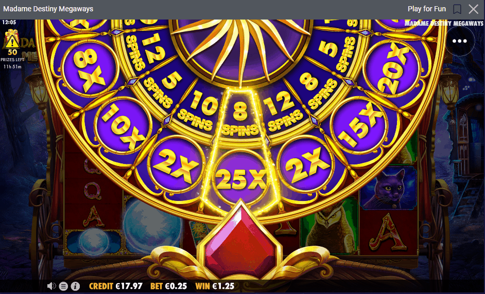 Wheel of Fortune with 2 slices to determined the freespins amount and multiplier.