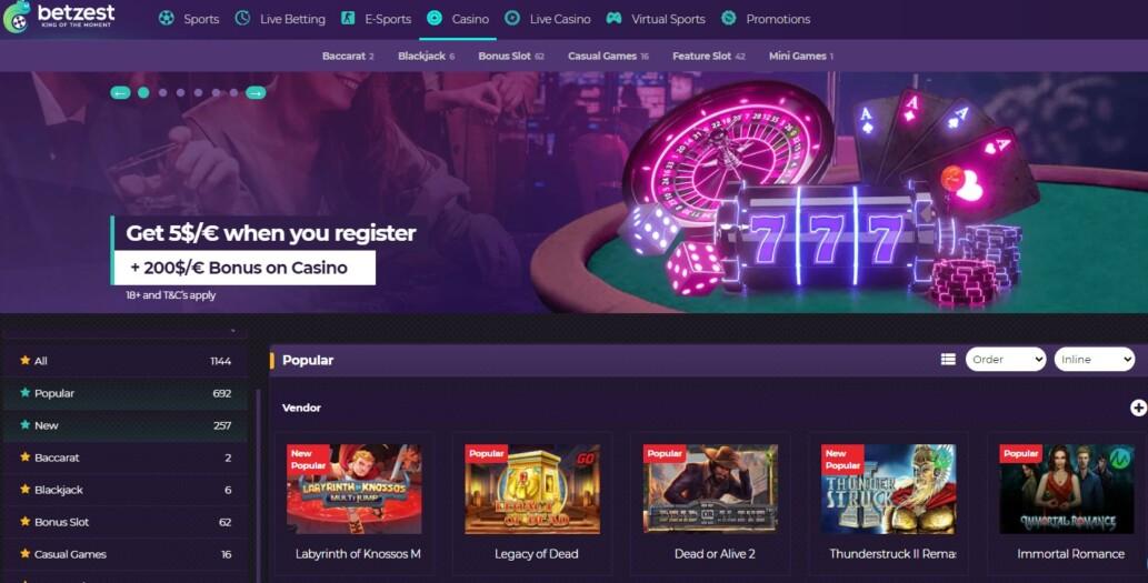 Betzest Casino Lobby